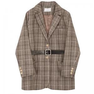 Women's Autumn/Winter Lapel Long Sleeve Coffee Plaid Jacket