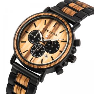 Men's Luxury Wood Watch in Wood Gift Box Set